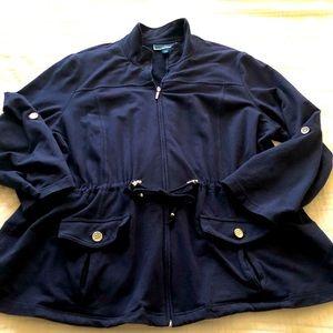 Karen Scott Sport woman-Knit jacket zip front.